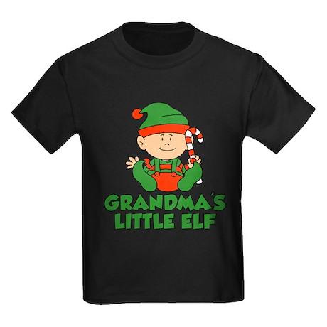 Grandmas Little Elf Kids Dark T-Shirt