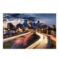 Downtown Minneapolis skyline and light trails on r