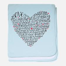 Love is patient Corinthians 13:4-7 baby blanket