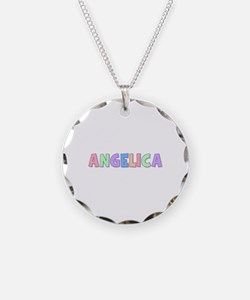 Angelica Rainbow Pastel Necklace Circle Charm