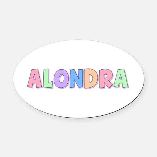 Alondra Rainbow Pastel Oval Car Magnet