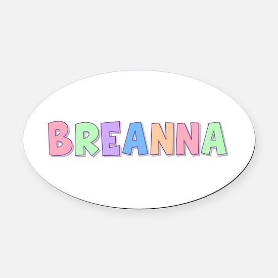 Breanna Rainbow Pastel Oval Car Magnet