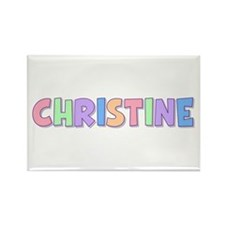 Christine Rainbow Pastel Rectangle Magnet