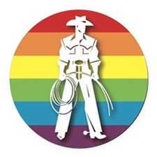The Gay Cowboy Round Car Magnet