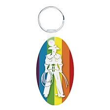 The Gay Cowboy Aluminum Oval Keychain