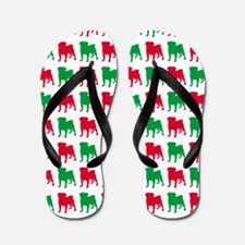 Pug Christmas or Holiday Silhouettes Flip Flops