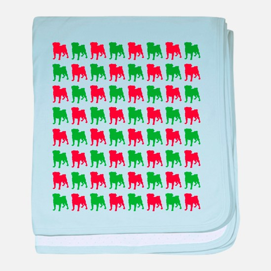 Pug Christmas or Holiday Silhouettes baby blanket