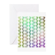 Multicolor Seahorse Pattern. Greeting Card