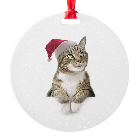 Merry Bright Cat Round Ornament