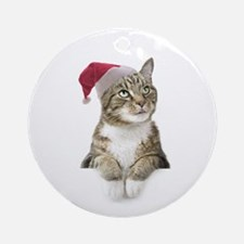 Merry Bright Cat Ornament (Round)