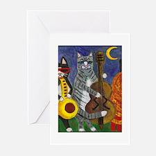 Jazz Cats at Night Greeting Cards (Pk of 20)