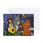 Jazz Cats at Night Greeting Card