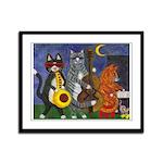 Jazz Cats at Night Framed Panel Print