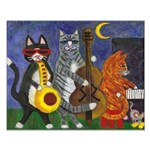 Jazz Cats at Night Small Poster