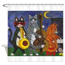 Jazz Cats at Night Shower Curtain