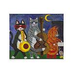 Jazz Cats at Night Throw Blanket