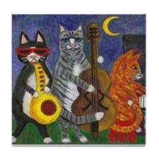 Jazz Cats at Night Tile Coaster
