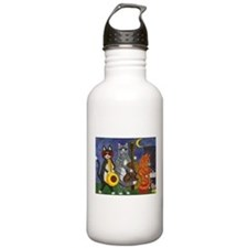Jazz Cats at Night Sports Water Bottle