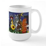 Jazz Cats at Night Large Mug