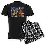 Jazz Cats at Night Men's Dark Pajamas