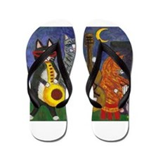 Jazz Cats at Night Flip Flops