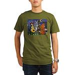 Jazz Cats at Night Organic Men's T-Shirt (dark)