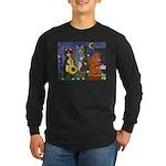 Jazz Cats at Night Long Sleeve Dark T-Shirt