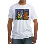 Jazz Cats at Night Fitted T-Shirt
