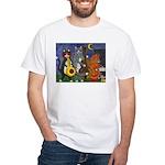 Jazz Cats at Night White T-Shirt