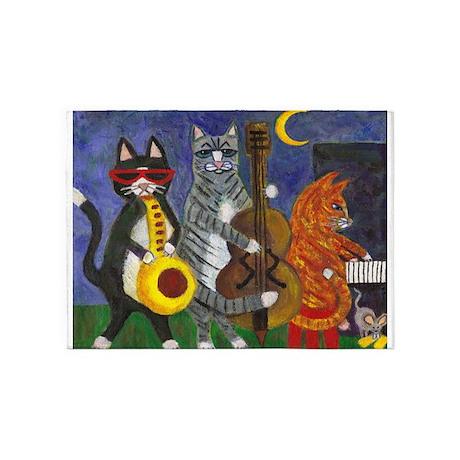 Jazz Cats At Night 5u0027x7u0027Area Rug