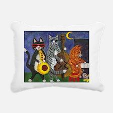 Jazz Cats at Night Rectangular Canvas Pillow