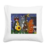 Jazz Cats at Night Square Canvas Pillow