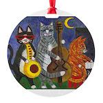 Jazz Cats at Night Round Ornament