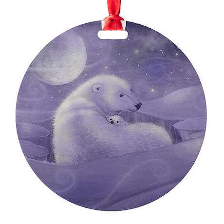 Polar Bear and Cub Wildlife Fantasy Round Ornament