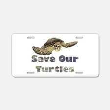 save-our-turtles.png Aluminum License Plate