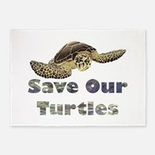 save-our-turtles.png 5'x7'Area Rug