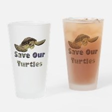 save-our-turtles.png Drinking Glass