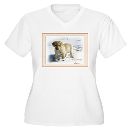 Yellow Lab Puppy Christmas Plus Size T-Shirt