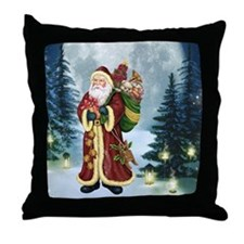 Santa Claus In The Forest Throw Pillow