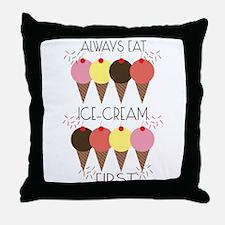 Ice Cream First Throw Pillow