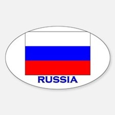 Russia Flag Gear Oval Decal