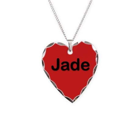 Jade Red Heart Necklace Charm