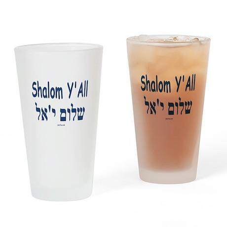 Shalom Y'All English Hebrew Drinking Glass