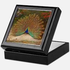 .Vintage Art of a Peacock Keepsake Box