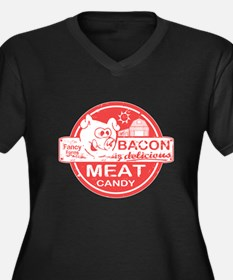 Bacon is Meat Candy Women's Plus Size V-Neck Dark