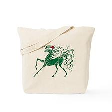 Retro Christmas Horse Tote Bag