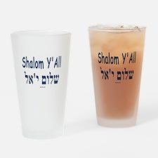 Shalom Y'all Hebrew English Drinking Glass