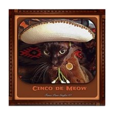 Cinco de Meow, color Tile Coaster