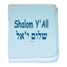 Shalom Y'all Hebrew English baby blanket