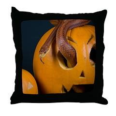 Snake In Pumpkin Throw Pillow